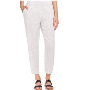 Eileen Fisher Linen Slub Check Tapered Ankle Pants
